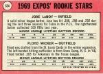 524 Jose Laboy, Floyd Wicker (1969 Rookie Stars) (Back)