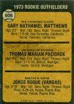 606 Gary Matthews, Tom Paciorek, Jorge Roque (1973 Rookie Outfielders) (Back)