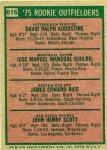 616 Dave Augustine, Pepe Manual, Jim Rice, John Scott (1975 Rookie Outfielders) (Back)