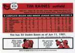 2001 Topps Traded Baseball T101 Tim Raines (Reprint) (Back)