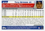 2004 Topps Baseball 615 Tony Armas Jr. (Back)