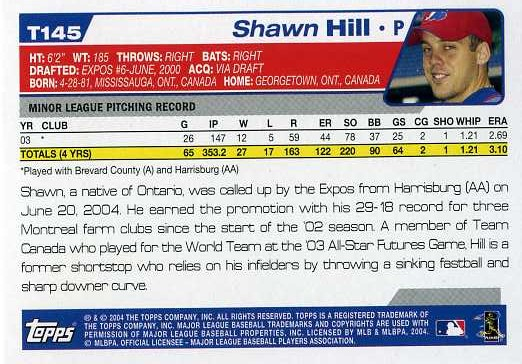 2004 Topps Baseball T145 Shawn Hill (Back)